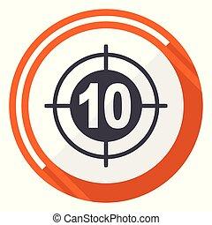 平ら, ターゲット, 網, ボタン, 隔離された, ラウンド, バックグラウンド。, ベクトル, デザイン, インターネット, オレンジ, 白, icon.