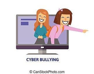 平ら, ティーンエージャーの, 概念, コンピュータ, illustration., 指すこと, cyberbullying, 女の子, screen., 隔離された, バックグラウンド。, ベクトル, 笑い, 白, style., trolling.