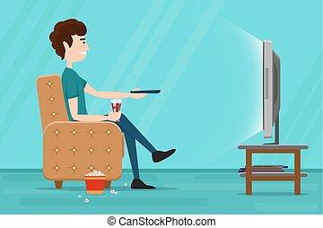 平ら, テレビ, armchair., 監視, イラスト, ベクトル, 人