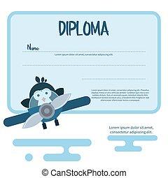 平ら, テンプレート, の, 卒業証書, 飾られる, ∥で∥, ペンギン, 中に, ∥, 飛行機。