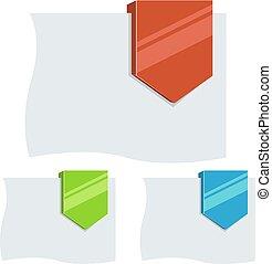 平ら, テンプレート, 下方に, タグ, デザイン, 矢, ブランク, 3d