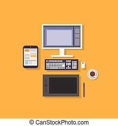 平ら, デザイナー, タブレット, コンピュータ, デザイン, 仕事場, アイコン