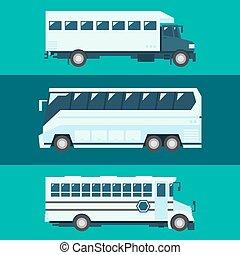 平ら, デザイン, の, 乗客, バス, セット
