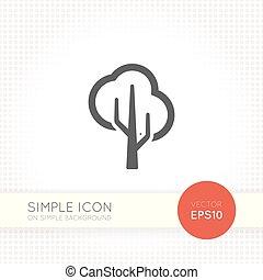 平ら, デザイン, アイコン, 木, minimalistic