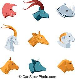平ら, デザイン, アイコン, 頭, 様々, 動物