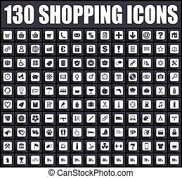 平ら, デザイン, ベクトル, 買い物, icons.