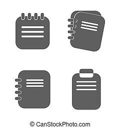 平ら, デザイン, メモ用紙, 隔離された, アイコン