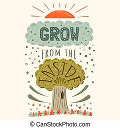 平ら, デザイン, 中, 現代, イラスト, ベクトル, 情報通, 句, 成長しなさい