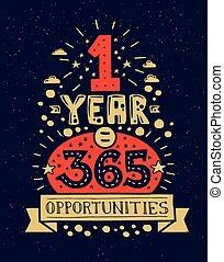 平ら, デザイン, 引用, 現代, イラスト, 1(人・つ), 情報通, 機会, 年, 句, 365