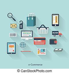平ら, デザイン, 概念, 現代, インターネット商業