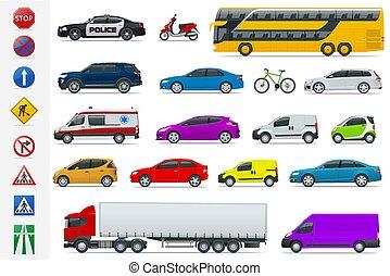 平ら, デザイン, 貨物, サイン, バン, 輸送, motorbike., 都市, オフロード, set., infographics, トラック, 都市, 貨物, 自動車, 公衆, アイコン, スクーター, high-quality, 側, バス, セダン, 道, 光景