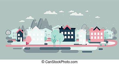 平ら, デザイン, 風景, イラスト, 都市