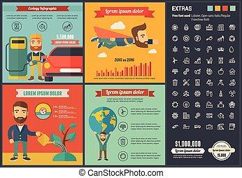 平ら, デザイン, infographic, エコロジー, テンプレート