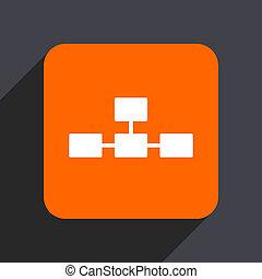 平ら, データベース, 隔離された, 灰色, デザイン, 網, 背景, オレンジ, アイコン