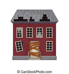 。, 平ら, ドア, 捨てられた, 窓, 家, 私用, 壊される, ベクトル, デザイン, roof., 乗り込まれた, ファサド, 古い, home., 建物。