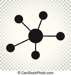 平ら, ネットワーク, 概念, dna, illustration., ビジネス, 単純である, 分子, pictogram., ベクトル, 社会, style., アイコン