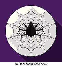 平ら, ハロウィーン, 長い間, shadow., spiderweb, アイコン