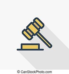 平ら, ハンマー, カラフルである, オークション, シンボル。, 長い間, シンボル, 正義, 線である, ベクトル, 評決, 薄くなりなさい, icon., 影, 法律, 線, 色, design.