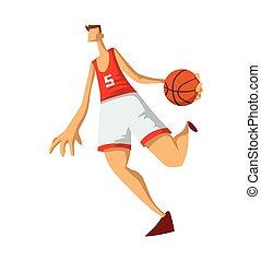 平ら, バスケットボール, バックグラウンド。, 抽象的, 隔離された, イラスト, style., プレーヤー, ベクトル, 白, 遊び, ball., 人