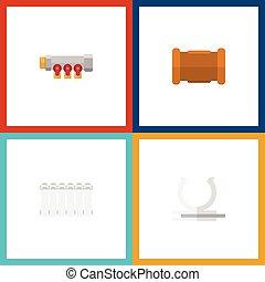 平ら, パイプライン, セット, elements., ラジエーター, pipework, 含む, また, ベクトル, パイプ, キャスト, objects., アイコン, 他, ヒーター, 水路