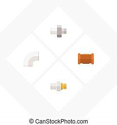 平ら, パイプライン, セット, elements., 産業, 産業, プラスチック, また, ベクトル, パイプ, アイコン, objects., 含む, 他, 鉄