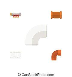 平ら, パイプライン, セット, elements., pipework, objects., 含む, また, ベクトル, 鉄, ラジエーター, プラスチック, 他, アイコン