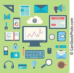 平ら, ビジネスオフィス, アイコン, 項目, 最新流行である, 毎日, オブジェクト, 使用法, 供給, 毎日