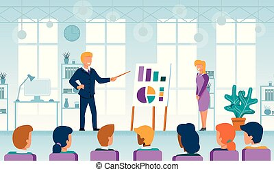 平ら, ビジネス, コーチ, ベクトル, 講義, セミナー
