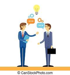 平ら, ビジネス 人々, 考え, 話し, デザイン, 論じる