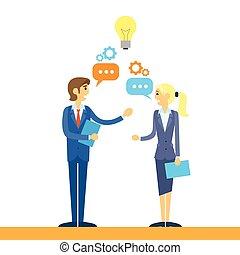平ら, ビジネス 人々, 考え, 話し, 論じる