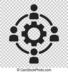 平ら, ビジネス 人々, concept., outsourcing, イラスト, 隔離された, バックグラウンド。, ベクトル, チームワーク, 協力, style., 共同, 透明, アイコン