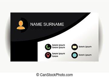 平ら, ビジネス, 単純である, 現代, ベクトル, デザイン, ユーザー, テンプレート, interface., カード