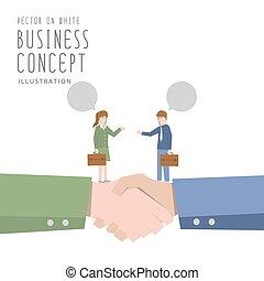 平ら, ビジネス, 女性実業家, 合意, 話し, vector., ビジネスマン