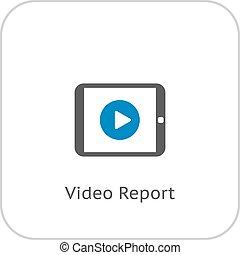 平ら, ビジネス, concept., ビデオ, レポート, icon., design.