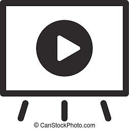 平ら, ビジネス, concept., ビデオ, icon., プレゼンテーション, design.