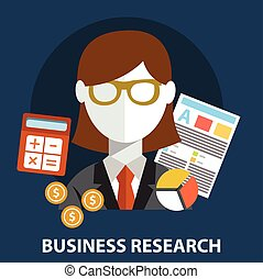 平ら, ビジネス, concept., 現代, 研究, デザイン