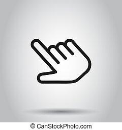 平ら, ビジネス, style., マウス, concept., 隔離された, イラスト, クリック, バックグラウンド。, ベクトル, 押し, 手, ポインター, ボタン, アイコン