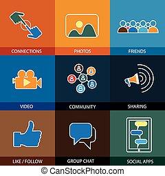 平ら, ビデオ, &, アイコン, 媒体, 写真, デザイン, 友人, 社会, 線