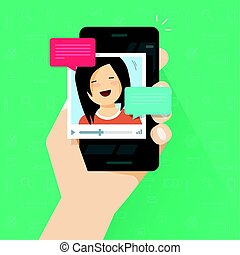 平ら, ビデオ, smartphone, 技術, 人々, 移動式 電話, 話し, を経て, ベクトル, チャット, オンラインで, 呼出し, 漫画, 携帯電話