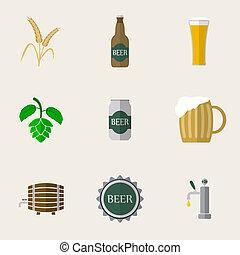 平ら, ビール, アイコン