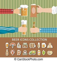 平ら, ビール, コレクション, アイコン