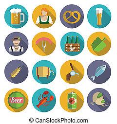 平ら, ビール, セット, アイコン