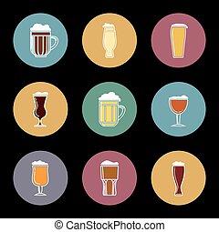 平ら, ビール, セット, ガラス, アイコン
