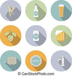 平ら, ビール, ベクトル, アイコン