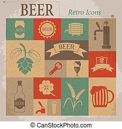 平ら, ビール, ベクトル, レトロ, アイコン