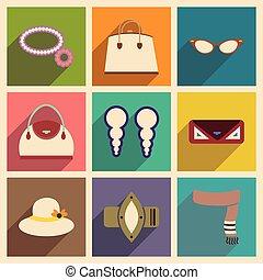 平ら, ファッション, アイコン, 現代, コレクション, ベクトル, 影