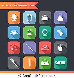 平ら, ファッション, セット, アイコン, 付属品, イラスト, シンボル, ベクトル