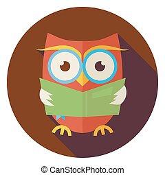 平ら, フクロウ, 長い間, 知恵, 鳥, 本, 影, 読書, 円, アイコン