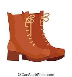 平ら, ブーツ, ベクトル, デザイン, イラスト, 対