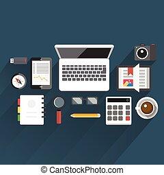 平ら, ベクトル, イラスト, オフィス, テーブル